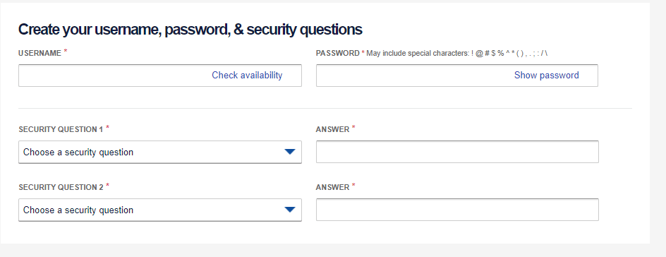 Creating Username and Password of Southwest Account